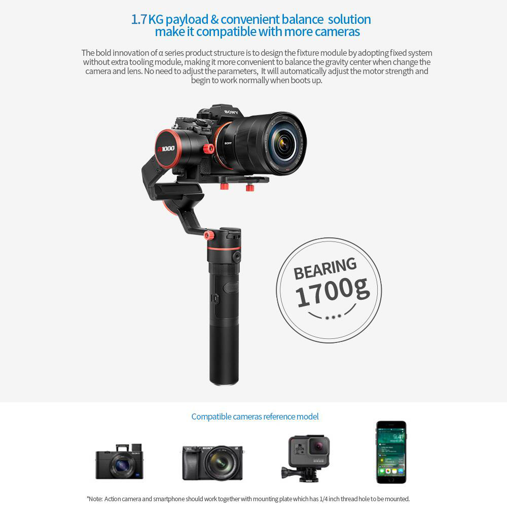 FeiyuTech a1000 Single Handle Gimbal Handheld Stabilizer