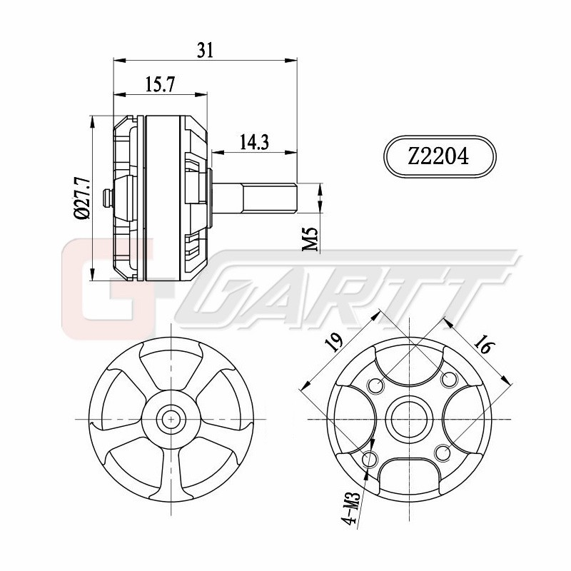 Gartt Z2204s 2300kv Ccw Brushless Motor Mt 125