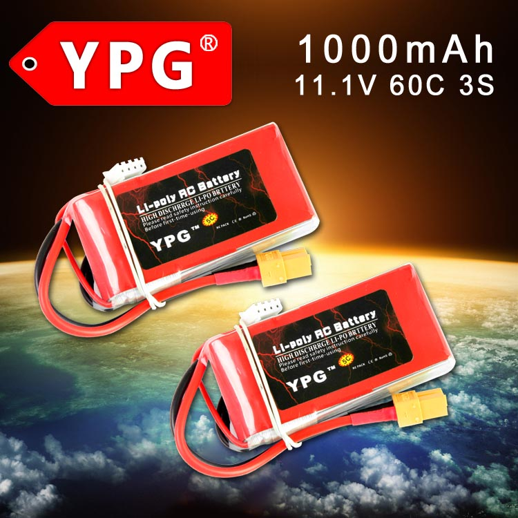 2 Pcs YPG 11.1V 1000mAh 60C 3S LiPo Battery