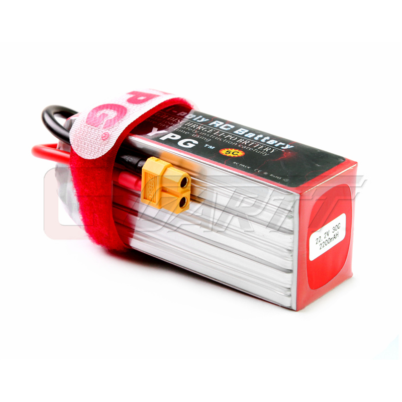 YPG 22.2V 2200mAh 30C 6S LiPo Battery with XT60 Connector